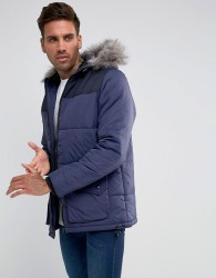 Another Influence Hooded Quilted Coat - Navy