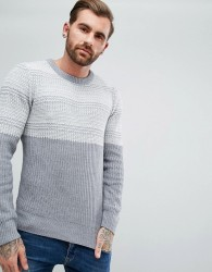 Another Influence Jacquard Block Knitted Jumper - Grey