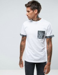 Another Influence Leaf Print Pocket T-Shirt - White