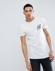 Another Influence Long Line Curved Hem Stretch Logo T-Shirt - White