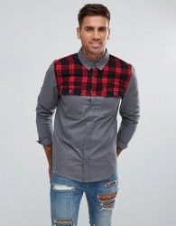 Another Influence Overshirt Checked Shoulder - Grey
