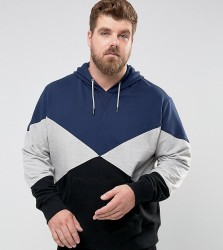 Another Influence PLUS Panelled Pull Over Hoodie - Navy