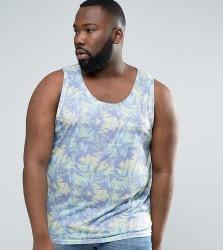 Another Influence PLUS Tropical Palm Pocket Vest - Blue