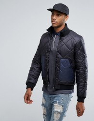 Another Influence Quilted Jacket with Contrast Pocket - Black