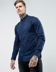 Another Influence Seamed Panel Slim Fit Shirt - Navy