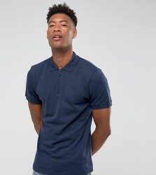 Another Influence TALL Zip Polo Shirts - Navy