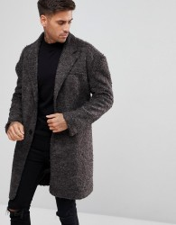 Another Influence Textured Overcoat Jacket - Grey