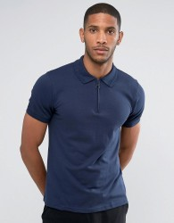 Another Influence Zip Polo Shirt - Navy