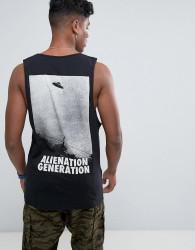 Antioch Alienation Back Print Vest with Scoop Armhole - Black