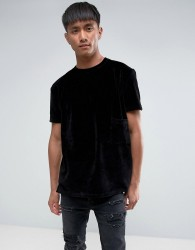 Antioch Oversized Velour T-Shirt - Black