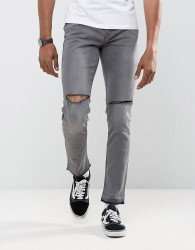 Antioch Ripped Skinny Jeans with Unrolled Hem - Grey
