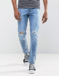 Antioch Stretch Ripped Skinny Jeans in Light Blue Stone Wash - Blue