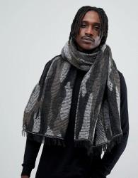 Antony Morato Blanket Scarf In Black With Camo Print - Black
