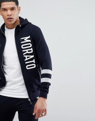Antony Morato Hoodie In Navy With Stripe Sleeve - Navy