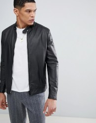 Antony Morato Leather Bomber Jacket In Black - Green