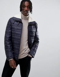 Antony Morato quilted jacket in navy with borg collar - Navy