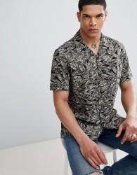 Antony Morato Revere Collar Short Sleeve Shirt In Black With Leaf Print - Green
