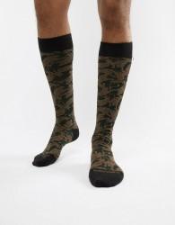 Antony Morato socks in khaki with tiger print - Green