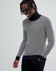 Antony Morato turtle neck knitted jumper in grey - Navy