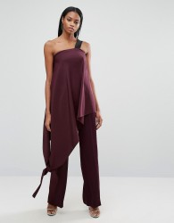 AQ/AQ Asymmetric Jumpsuit With Contrast Strap - Purple