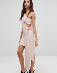 AQ/AQ Asymmetric Mini Dress With One Sleeve And Drape Panel - Black