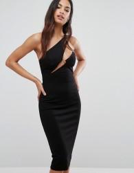 AQ/AQ Cut Out Midi Dress With Slash Neckline - Black
