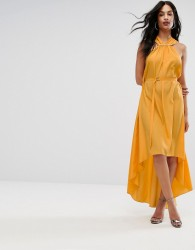 AQ/AQ Halterneck Maxi Dress With Hardware Detail - Yellow