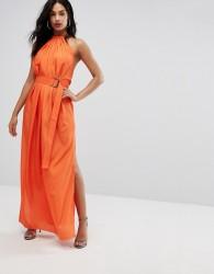 AQ/AQ Maxi Dress With Ruched Detail And Belt - Orange