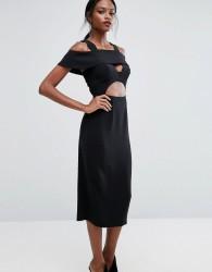AQ/AQ Midi Dress with Frill detail - Black