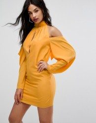 AQ/AQ Mini Dress With Cold Shoulder Ruched Detail - Yellow