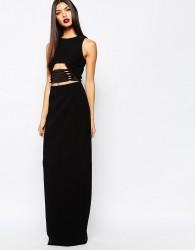 AQAQ Muscan Maxi Dress With Lace Up Waist Detail - Black
