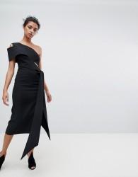 AQ/AQ One Shoulder Drape Front Midi Pencil Dress - Black