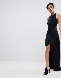 AQ/AQ Wrap Front Maxi Dress With Asymmetric Split Detail - Black