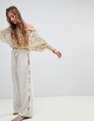 Aratta Relaxed Trousers In Fine Stripe With Beaded Floral Side Panel - Multi