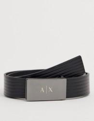 Armani Exchange leather logo buckle belt in black - Black