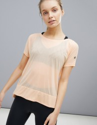 Asics Running Crop Front Tee In Apricot - Orange