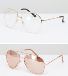 ASOS 2 Pack Geeky Aviator and Rose Gold Aviator Sunglasses - Gold