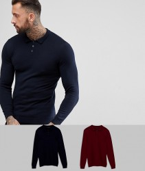 ASOS 2 Pack Knitted Muscle Fit Polo In Navy/Burgundy SAVE - Multi