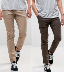 ASOS 2 Pack Skinny Chinos In Brown & Stone SAVE - Multi