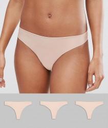 ASOS 3 Pack Basic Seam Free Thongs - Beige