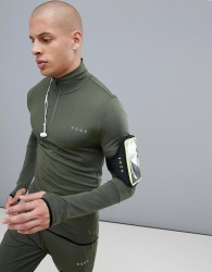 ASOS 4505 training muscle training sweat with half zip and quick dry in khaki - Green