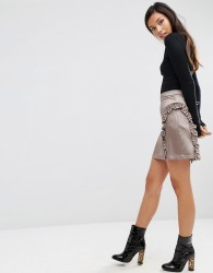 ASOS A-Line Ruffle Mini Skirt in Satin - Silver