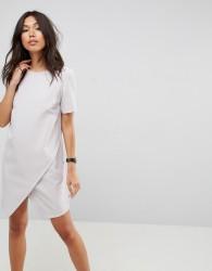 ASOS Asymmetric Clean Shift Dress with Short Sleeve - Silver