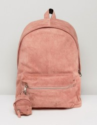 ASOS Backpack In Pink Suede With Mini Backpack Keyring - Pink