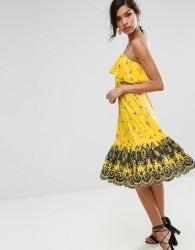 ASOS Bandeau Midi Dress with Broderie Hem in Ditsy Print - Multi