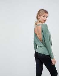 ASOS Batwing Top with Open Back in Slinky - Green