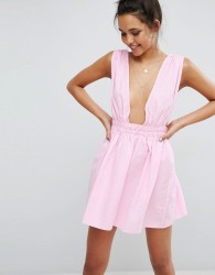 ASOS Beach Skater Dress in Seersucker - Pink