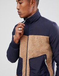 ASOS Bomber Jacket With Borg In Navy - Navy