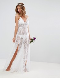 ASOS BRIDAL Beach Lace Maxi Dress - White
