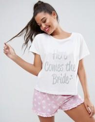 ASOS BRIDAL Here Comes The Bride Tee & Short Pyjama Set - Multi